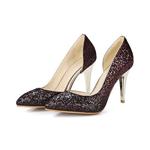 VogueZone009 Femme Tissu à Paillette Tire Pointu Stylet Couleur Unie Chaussures Légeres Rouge Vineux