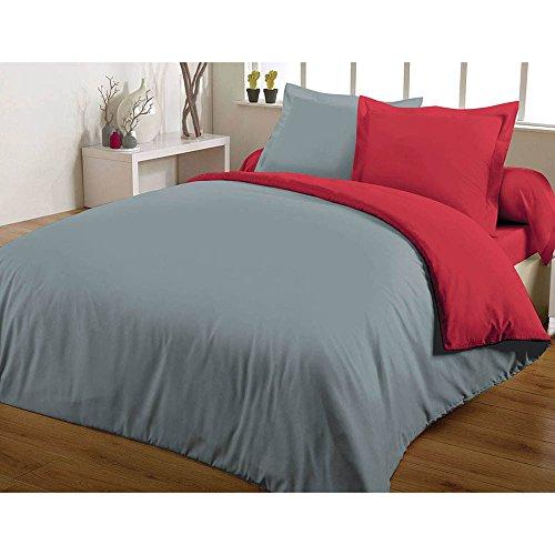 Maxi housse de couette bicolore 240X260 100% coton 57 fils Rouge/Gris