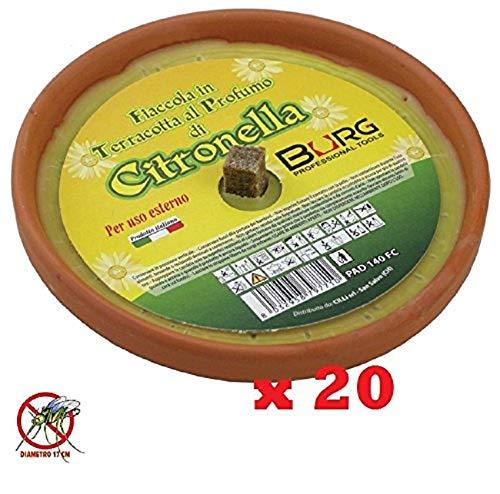 LGVSHOPPING Confezione Risparmio 20 X Fiaccola Candela Aroma Citronella Cocci in Terracotta Diametro 17cm Antizanzare