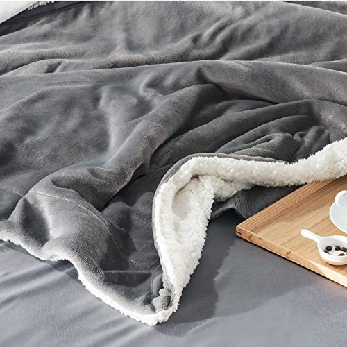 Bedsure Sherpa Blanket Silver Gr...