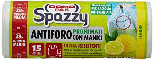 Domopak - Spazzy, Sacchi Nettezza Ultra Resistenti, Profumati al Limone, con Manici,...