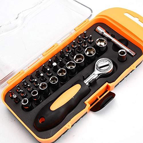 Volwco Präzisions-Schraubendreher-Set, tragbare Stecknuss- und Schraubendreher-Set, Reparatur-Set mit Tasche für Handy, Computer, Spielekonsole, Brillenuhren, A