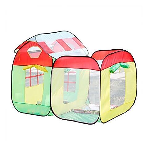 Excelvan 2 en 1 Enfants Toddlers Pop-up Play Tente Colorful Playhouse Set Portable pliage avec balles marines Comprend Roof Cubby Tente & Roofless Cubby Tente Indoor Jouet de jeu en plein air(Deux Tentes avec Balles)
