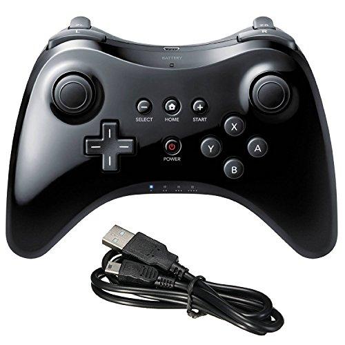 Stoga Wii U Pro Controller -Wireless Bluetooth Controller Gamepad Joystick mit USB Ladekabel für Nintendo Wii U (Schwarz) (Wii U Mit Super Mario Bros)