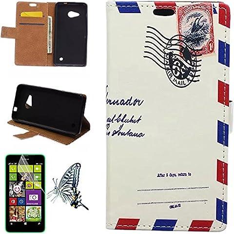 Mobilefashion Custodia in Pelle PU Cuoio Custodia Protettiva Portafoglio Case Cover per Microsoft Lumia 550 con funzione di supporto (Air mail JL) + Pellicola Protettiva Dono Gratuito