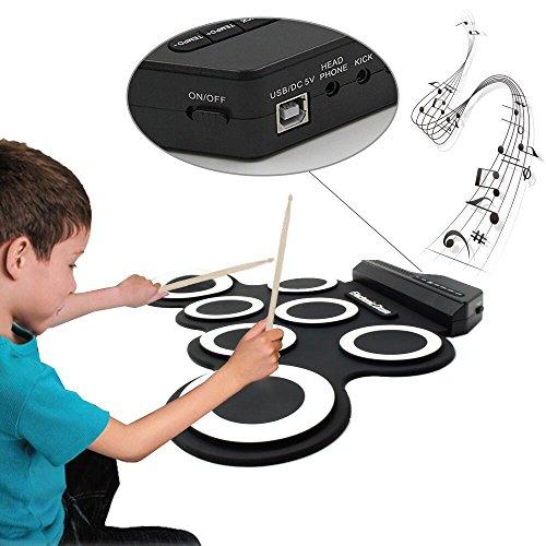 Batería Electrónica Portátil con Metrónomo y Altavoz Incorporado, Dr.Memory Electronic Roll Up Drum Set con Palillos y Pedales, Regalo de Cumpleaños para Los Chicos Principiantes, Batería / USB Accionado, Materia de Silicona, 7 Pads