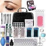 TopDirect 22pcs Eyelash Extension Kits False Lashes Tool Curl Glue with Makeup Bag for Makeup Practice Eye Lashes Graft, Lash Starter Kit, Eyelashes Extension Practice Set