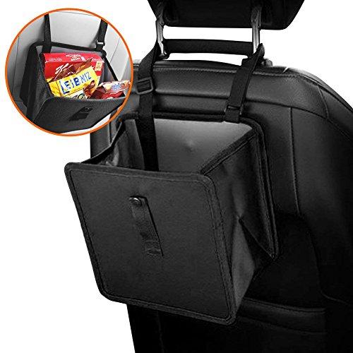 Cubo de basura para coche negro, a prueba de fugas, caja de basura colgar el reposacabezas o el suelo del coche, mini organizador de asiento de coche impermeable para botellas/juguetes