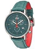 DETOMASO MILANO Herren-Armbanduhr Chronograph Analog Quarz grünes Lederarmband grünes Zifferblatt DT1052-S