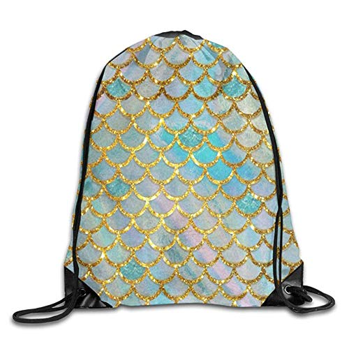 (HLKPE Charming Pastel Mermaid Scale Cute Gym Drawstring Bags Travel Backpack Tote School Rucksack)