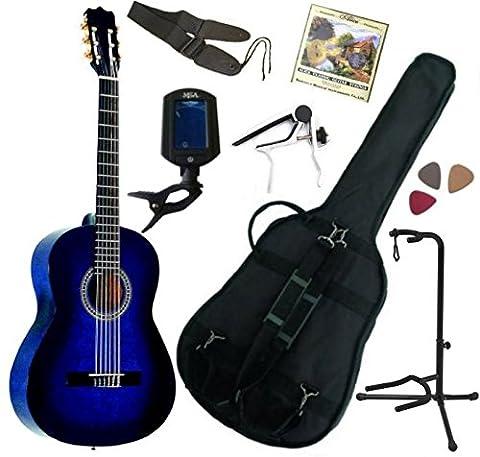Pack Guitare Classique 1/2 Pour Gaucher (6-9ans) Avec 7 Accessoires (bleu)