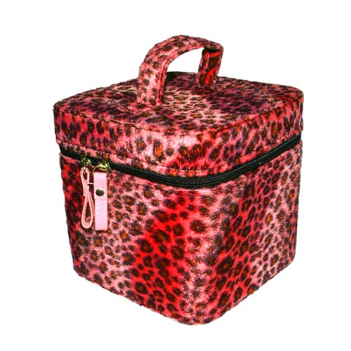 Doppel-zip-make-up-tasche (Beauty Case LEOPARD red)