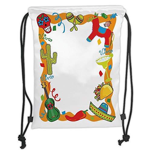 LULUZXOA Gym Bag Printed Drawstring Sack Backpacks Bags,Fiesta,Cartoon Drawing Style Mexican Pinata Taco Chili Pepper Sugar Skull Pattern Guitar,