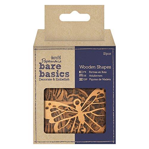 docrafts Wooden Shapes - Florals, Butterflies & Dragonflies (Pack of 10)