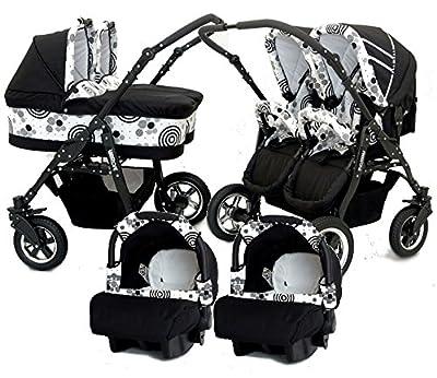Zwillingswagen. 2 x Buggy, 2 x Babywanne, 2 x Babyschale + ISOFIX