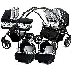 Carro gemelar 3en1. 2 capazos + 2 sillas + 2 grupo 0 + accesorios (blanco+negro)