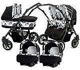 BBTwin - Passeggino 3 in1 per bambini, gemellare,con 2ovetti + 2sedie + 2seggiolini gruppo 0+ accessori bianco+nero