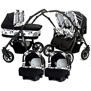 Cart Gemelar 3Pieces + ISOFIX. capazos + Chairs + portabebes + ISOFIX + Accessories. Black + White   13