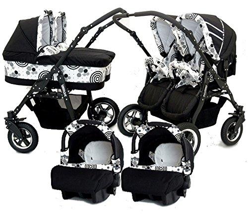 Carro gemelar 3 piezas + ISOFIX. Capazos+sillas+portabebes+isofix+accesorios. Negro+blanco