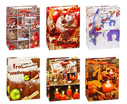 (TSI 87026 Geschenkbeutel Weihnachten Serie 6, 12er Packung, Größe: Klein (14,5 x 11 x 6,5 cm))