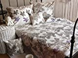 Carpe Sonno Kühles Mako-Satin Bettwäsche Set in Exklusiver Hotelqualität 135 x 200 cm Weiß mit Blumen-Muster aus 100% Baumwolle Schlafkomfort – Hotelbettzeug mit Kopfkissen-Bezug