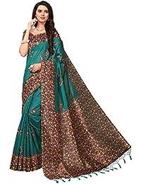Fabwomen Sarees Kalamkari Turquoise And Multi Coloured Kashmiri Silk With Tessels Fashion Party Wear Women's Saree...