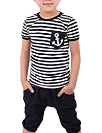 Koly Verano Chicos Ropa Marina rayas camiseta + Pantalones Trajes