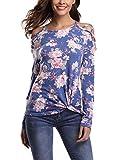 Abollria Damen Langarm Shirt Bluse Blumen Print Oberteile mit Knoten-Details und Kreuz-Schulter