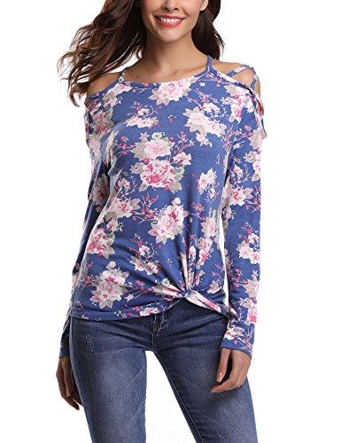Abollria Damen Langarm Shirt Bluse Blumen Print Oberteile mit Knoten-Details und Kreuz-Schulter (Schulter Knoten)