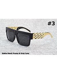 Aprigy Fashion - Gafas de sol estilo vintage con cadena de metal dorado inspirado en la