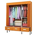 Tragbarer Schrank Mit Schubladenstoff Schrank Montage Schrank Sparen Raum Kleidung Aufbewahrungsschrank Locker 45 * 125 * 168 cm (Color : Orange)
