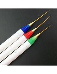 Gazechimp Lot 3 Stylo Gel UV Ongles en Acrylique Brosses à Ongles Peinture Parsemant Dotting Nail Art Design
