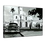 Bilderdepot24 Kunstdruck - Oldtimer - Kuba - Bild auf Leinwand - 50 x 40 cm - Leinwandbilder - Bilder als Leinwanddruck - Wandbild Motorisiert - Karibik - Straßenkreuzer auf Kuba