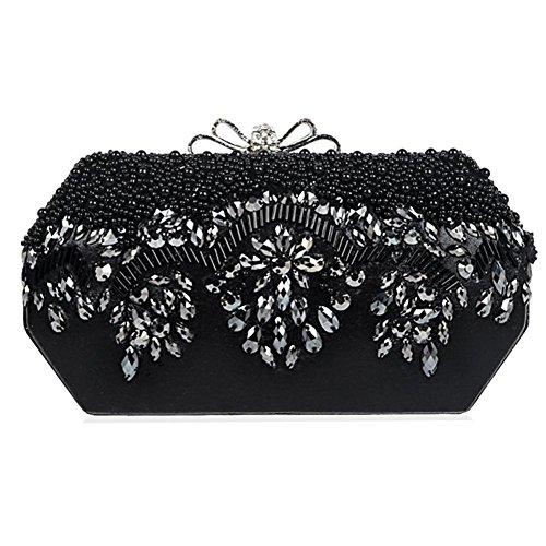 Damen Abendtasche Perlen Strass Abendessen Party Handtaschen Geldbörse Handtasche. 21 X 11 Cm black