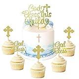 JeVenis 25 Stück Glitzer-Kuchenaufsatz für Taufe, Cupcake-Topper, Engel Fee, Christliche Party-Dekoration, Gastgeschenk Hochzeit Geburtstag Kuchen Dekoration