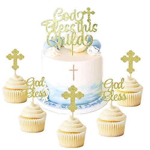 JeVenis 25 Stück Glitzer-Kuchenaufsatz für Taufe, Cupcake-Topper, Engel Fee, Christliche Party-Dekoration, Gastgeschenk Hochzeit Geburtstag Kuchen Dekoration (Fee-geburtstagskuchen)