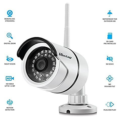 Vimtag® WLAN HD Außen Wireless-Sicherheit IP Bullet Kamera Weatherproof, Überwachung Video, Tag Nacht IR-Cut, Bewegungserkennung Verschiebe Benachrichtigungen, Snapshot, Radaufhängung/Videoaufzeichnung, Echtzeit Benachrichtigungen Push App (B1-C weiß) - Kit Cavo Di Sicurezza