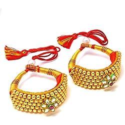Jewar Baju Bandh Gold Plated Kundan Ad Cz Gemstones Round Ball Hand Pocchi Pair Jewelry 7733