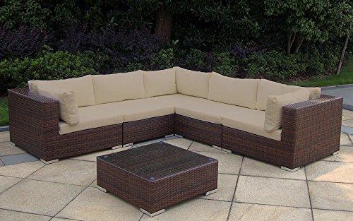 Baidani 13b00015.97001 Sunshine Rattan Garten Lounge Garnitur, braun, 255 x 255 x 65 cm