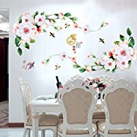 TCCSR Wall Stickers Beautiful Peony Flower For Bedroom Living Room Refrigerator Home Decorative Stickers Pvc