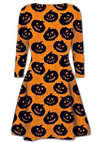Generic -  Vestito  - skater - Donna Black Pumpkin Print
