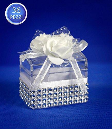 Vetrineinrete® scatoline portaconfetti 36 pezzi matrimonio comunione scatole per confetti bomboniere in plastica plexiglass trasparenti decorate con rose e brillantini 303396 g20