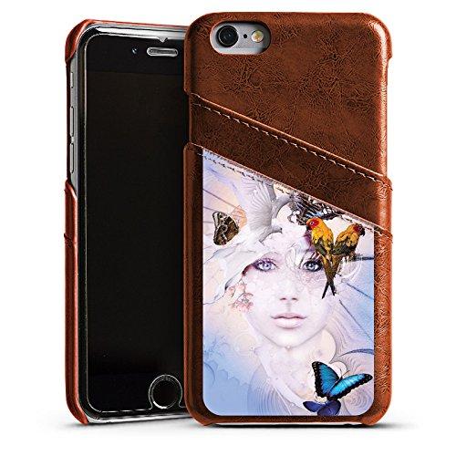 Apple iPhone 4 Housse Étui Silicone Coque Protection Oiseaux Femme Femme Étui en cuir marron