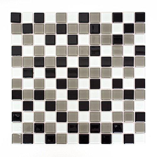 Mosaik Fliese selbstklebend Transluzent braun schwarz weiß Glasmosaik Crystal braun schwarz weiß für WAND KÜCHE FLIESENSPIEGEL THEKENVERKLEIDUNG Mosaikmatte Mosaikplatte