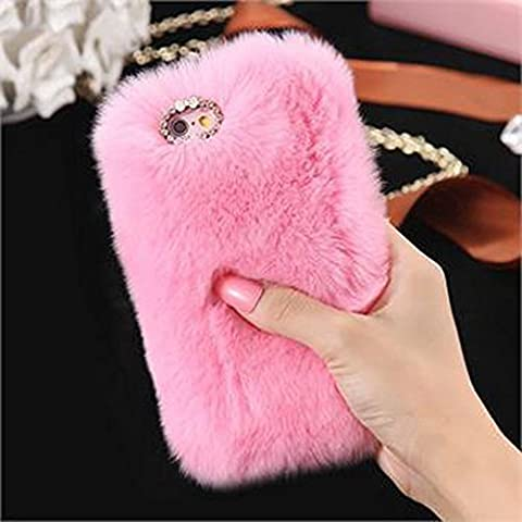 iPhone 6 6s Plus Case, FLOVEME Rhinestone Bling Handmade Fluffy Imitation Rabbit Hair Plush Phone Fur Soft Decorative Cover Case for iPhone 6 Plus,iPhone 6s Plus 5.5inch - pink