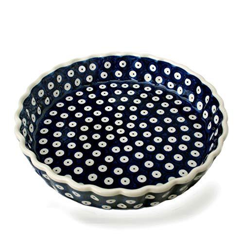 Bunzlauer Keramik Tarte- oder Quiche-Form 23 cm (Dekor Blau-Auge)