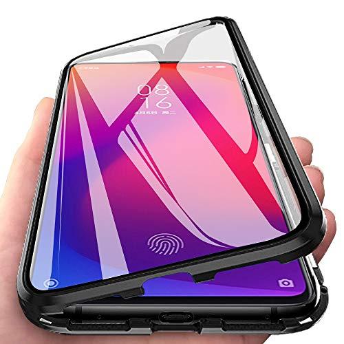 DoubTech R&um Hülle für Xiaomi Mi 9T Magnetische Adsorption Handyhülle 360 Grad Schutzhülle Stark Magneten Aluminiumrahmen Dual Haptik Gehärtetes Glas Stoßfest Metall Flip Cover