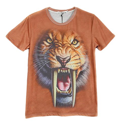 Pretty321 Men's Hip Hop 3D Tiger Fangs Creative Graffiti Fashion T-Shirts Amazon