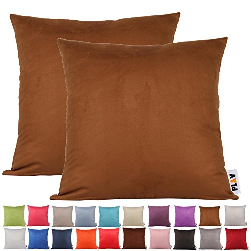 PLANDV® Solid Color Faux Suede Lightweight Decorative Cushion Cover Pack of 2,Available in 21 Colors & 7 Sizes?50x50cm,Brown)