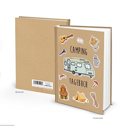 Kleines Tagebuch Camping Reisebuch Reisetagebuch DIN A5 zum Selberschreiben Gestalten mit Inhaltsverzeichnis zum Einschreiben für den Campingurlaub - Ein Geschenk für Camper Reisende Globetrotter